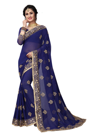 Navy Color Georgette Saree - D-NO-1422