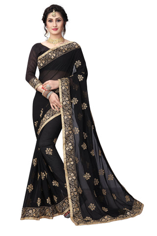Black Color Georgette Saree - D-NO-1423
