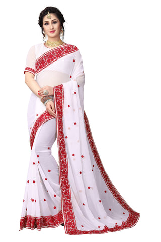 White Color Georgette Saree - D-NO-1424