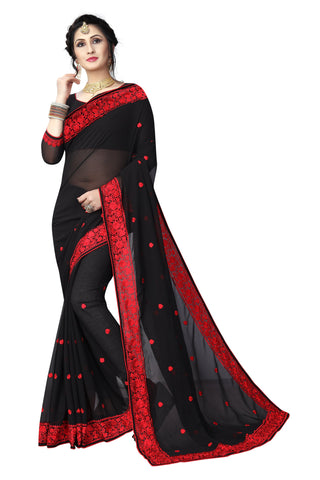 Black Color Georgette Saree - D-NO-1425