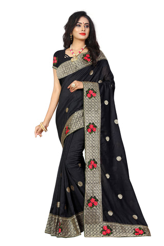 Black Color Vicitra Silk Saree - D-NO-1491
