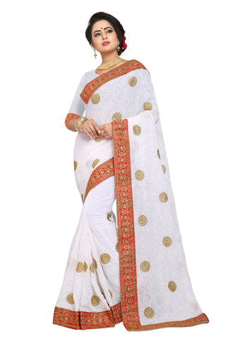 White Color Georgette Saree - D-NO-1503