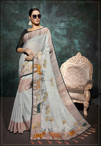 Silver Color Lilen Saree - D-NO-1523