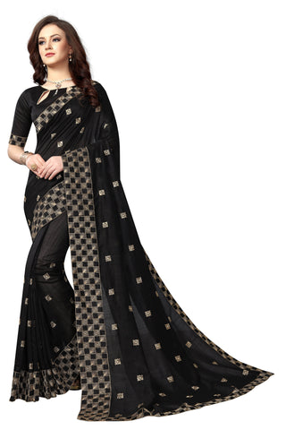 Black Color Vicitra Silk Saree - D-NO-1663