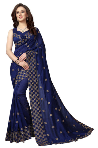 Navy Color Vicitra Silk Saree - D-NO-1667