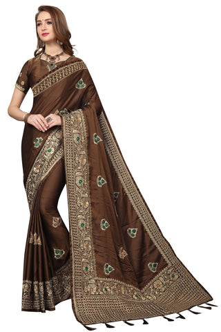 Brown Color Silk Satin Saree - D-NO-1687