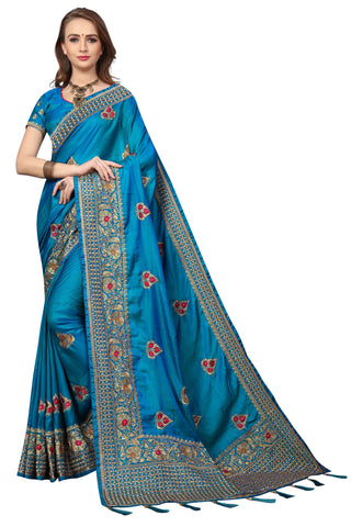 Blue Color Silk Satin Saree - D-NO-1688