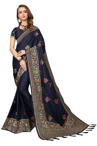 Navy Blue Color Silk Satin Saree - D-NO-1690