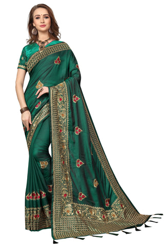 Green Color Silk Satin Saree - D-NO-1691