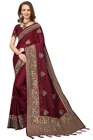 Maroon Color Silk Satin Saree - D-NO-1692