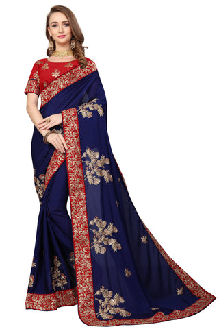 Navy Blue Color Pure Satin Saree - D-NO-1696