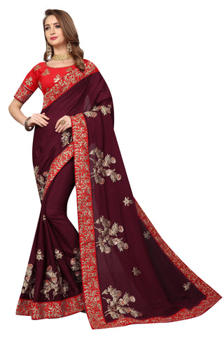 Maroon Color Pure Satin Saree - D-NO-1699