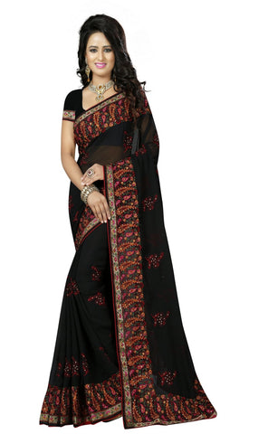Black Color Georgette Saree - D-NO-1722
