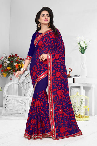 Navy Blue Color Georgette Saree  - D-NO-192