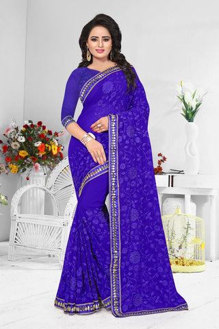 Blue Color Georgette Saree  - D-NO-194