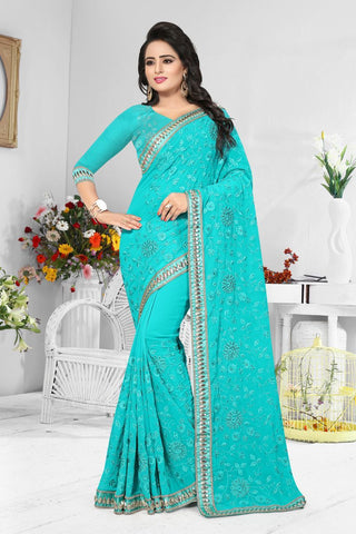 Teal Green Color Georgette Saree  - D-NO-198