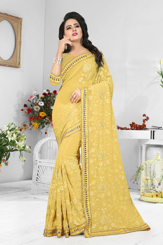 Yellow Color Georgette Saree  - D-NO-200