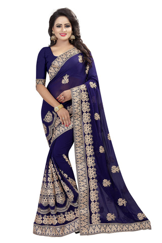 Blue Color Georgette Saree - D-NO-203