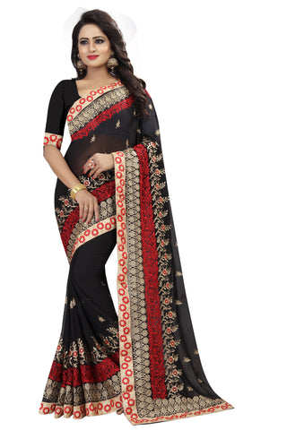 BlackRed Color Georgette Saree - D-NO-208