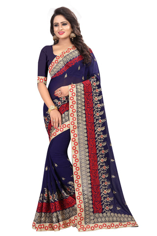 Blue Color Georgette Saree - D-NO-210