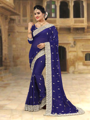 Blue Coloe Georgette Saree - D-NO-251
