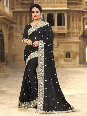 Black Coloe Georgette Saree - D-NO-253