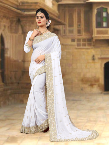 White Coloe Georgette Saree - D-NO-254