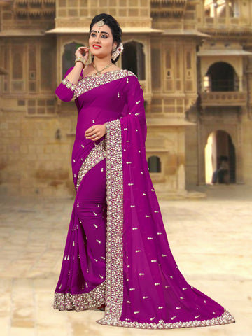 Violet Coloe Georgette Saree - D-NO-255