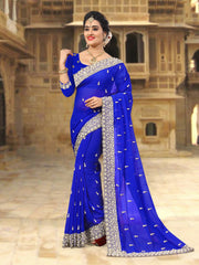 Blue Coloe Georgette Saree - D-NO-256