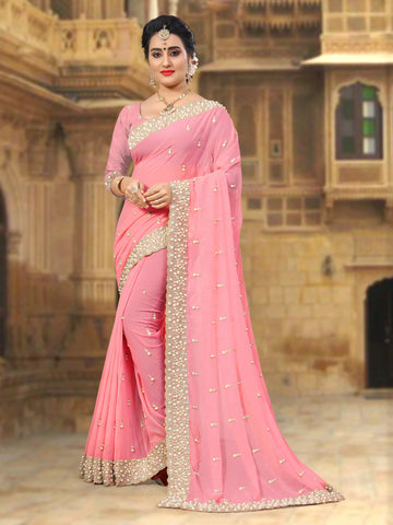 Baby Pink Color Georgette Saree - D-NO-260