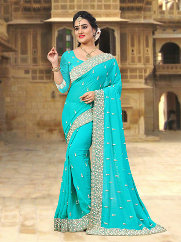 SkyBlue Coloe Georgette Saree - D-NO-263