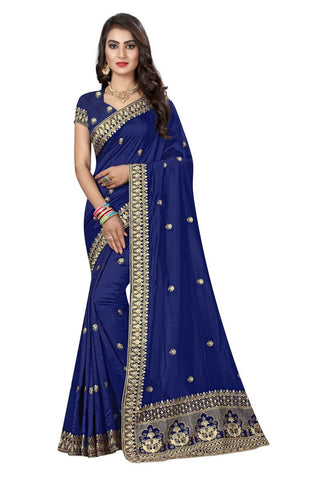 Blue Color Vichitra Silk Saree - D-NO-271