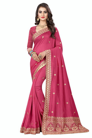 Pink Color Vichitra Silk Saree - D-NO-272