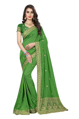 Green Color Vichitra Silk Saree - D-NO-273