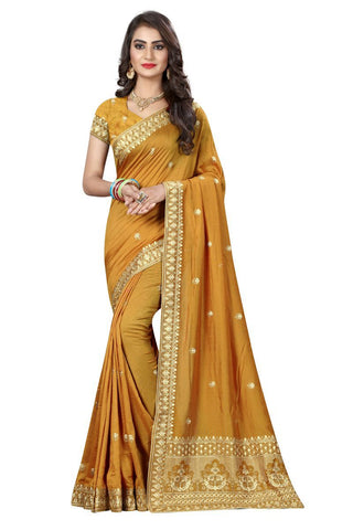 Gold Color Vichitra Silk Saree - D-NO-274