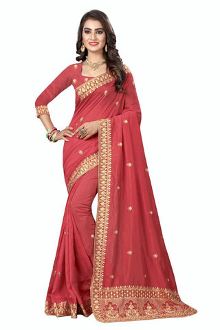 Red Color Vichitra Silk Saree - D-NO-275