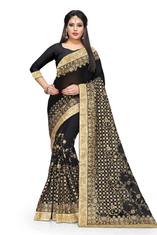 Black Color Georgette Saree - D-NO-322