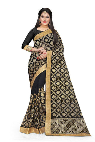 Black Color Georgette Saree - D-NO-328