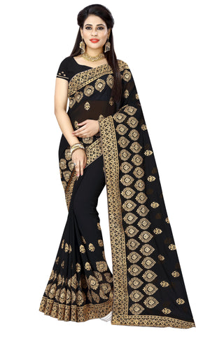 Black Color Georgette Saree - D-NO-372