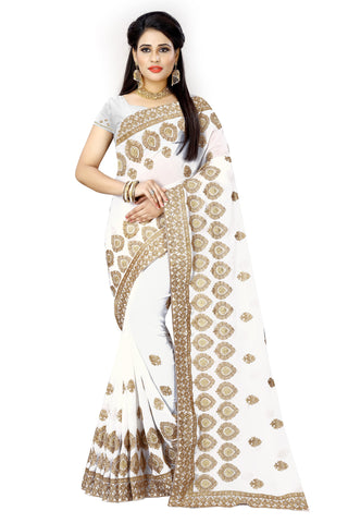 White Color Georgette Saree - D-NO-373