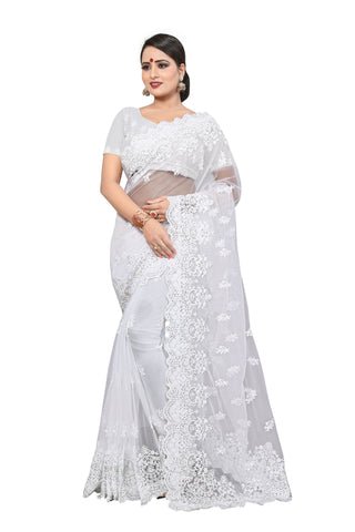 Off White Color Net Women's Saree - D..NO.-446