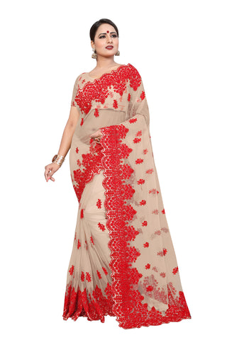 Cream Color Net Women's Saree - D..NO.-447