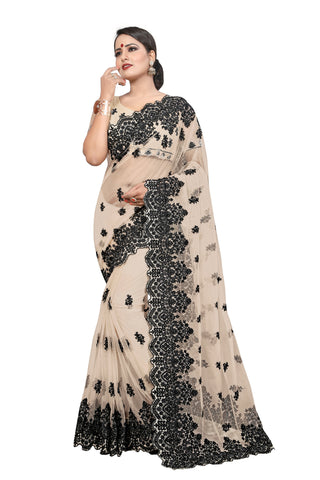 Cream Color Net Women's Saree - D..NO.-448
