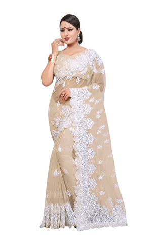 Cream Color Net Women's Saree - D..NO.-449