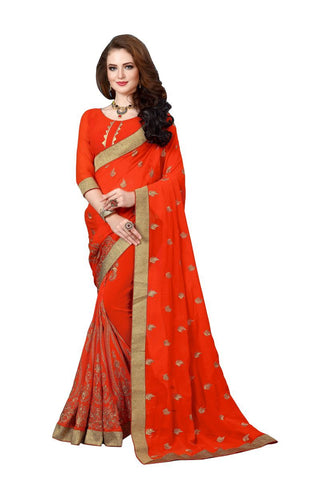 Orange  Color Georgette Fancy Saree - D.NO-1210