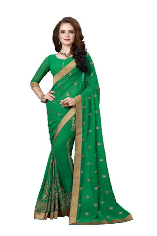 Green  Color Georgette Fancy Saree - D.NO-1212
