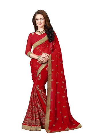 Maroon  Color Georgette Fancy Saree - D.NO-1213