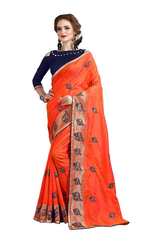Orange   Color Banglori Silk  Saree - D.NO-1218