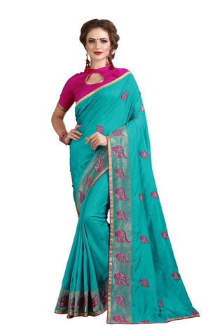 Blue Color Banglori Silk  Saree - D.NO-1220