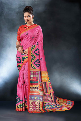Pink Color Tussar Silk Saree - D.NO-1552